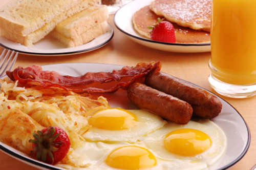 Breakfast Plate Featuring Bacon, Eggs and Toast