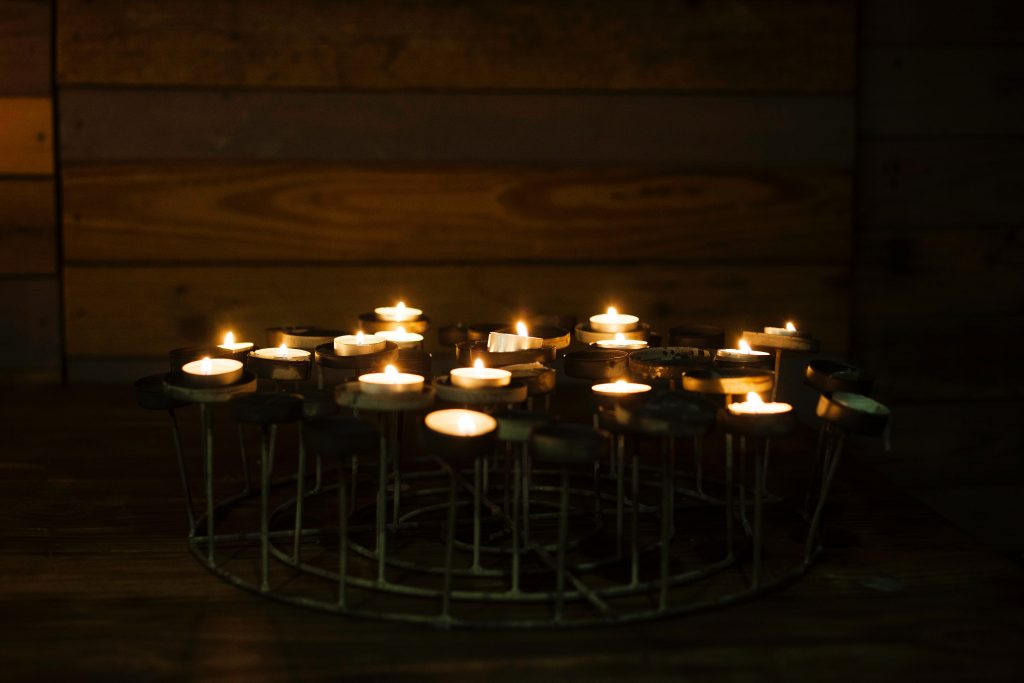 Candles lit for contemplative night prayer